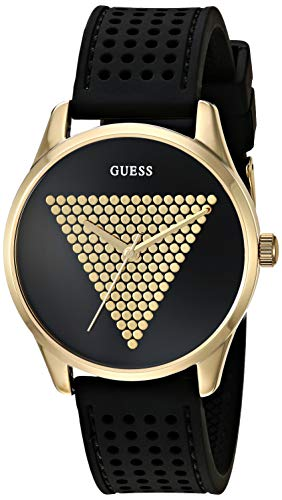 GUESS Women's Stainless Steel Japanese Quartz Watch with Silicone Strap, Black, 18 (Model: ()