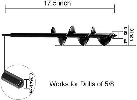 "Bulb Planter Garden Planter Drill Planter Garden Planter Tool 7.6cm x 17.8cm Bulb Auger Drill Bit Rust Proof Rapid Planter Bulb Plant Auger Umbrella Post Hole Digger for 5//8/"" Hex Drive Drill 3x 7"