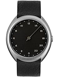slow O 05 - Swiss Made one-hand 24 hour watch - Silver with black leather band