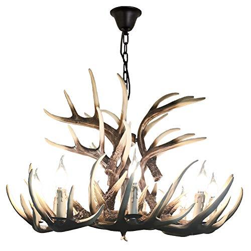 Lymxxl American Deer Horn Chandelier 9 Lights + 6 Heads Vintage Style Resin Antler Chandelier for Home,Bar,Cafe, Store, Retro Deer Horn Light with UL Approve E12 Lampholder (9+6 Heads)