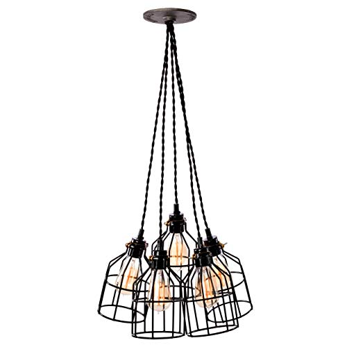 - Vintage Industrial Pendant Light Fixture - Flush Mount, Hanging, Canopy Lighting with Edison Cages - Great in Kitchen, Bar, Island, Dining Room, and Foyer - Five Lights & Black