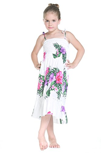 Aloha Fashion Girl Elastic Ruffle Hawaiian Luau Dress in White Floral