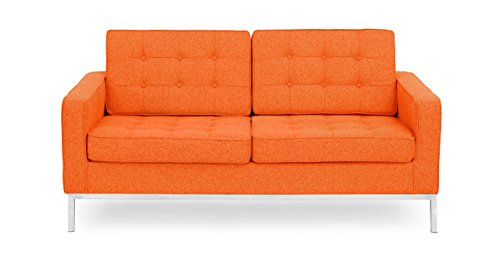 Kardiel Florence Knoll Style Loveseat, Cinnabar Houndstooth Twill