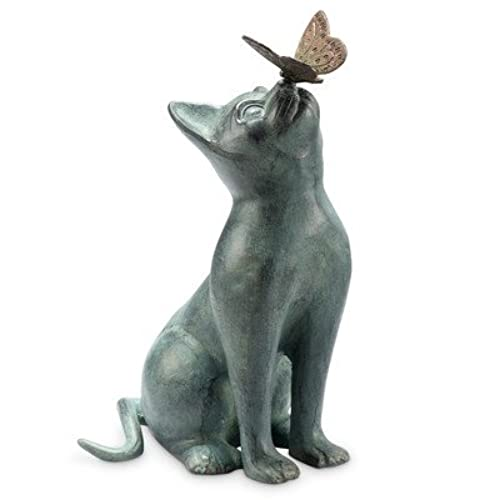 Charmant Cat And Butterfly Curiosity Garden Statue