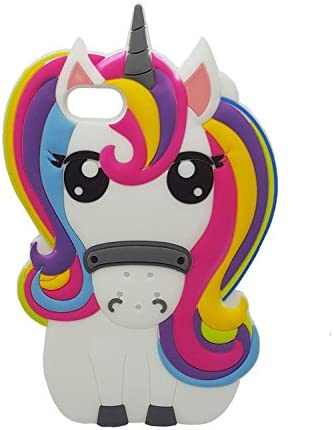 Rainbow Unicorn iPhone 7 7G Case,iPhone 8 Case, XINSIR Cute 3D Cartoon Horse Soft Silicone Case Rubber Back Cover Skin for Apple iPhone 7 & iPhone 8 ...