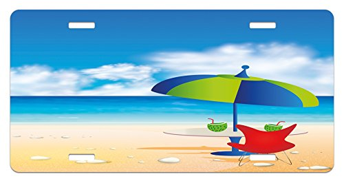 (Ambesonne Beach License Plate, Relaxing Scene with Umbrella and Drinks Open Skyline Holiday Destination Summer Time, High Gloss Aluminum Novelty Plate, 5.88