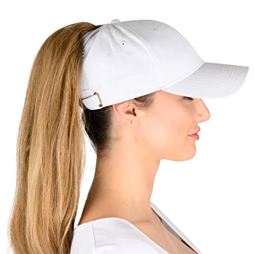 Phrase3 Ponytail Hat - Womens Ponytail Baseball Caps with High Ponytail Hole Design for Messy High Buns, All Cotton, Breathable (White)