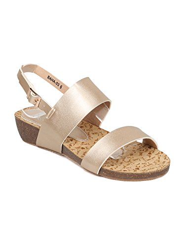 - Alrisco Women Metallic Leatherette Open Toe Slingback Low Wedge Sandal HA49 - Champagne Metallic (Size: 9.0)