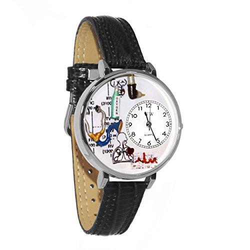 Whimsical Watches Unisex U0620028 Respiratory Therapist Black Skin Leather Watch - Therapist Unisex Watch