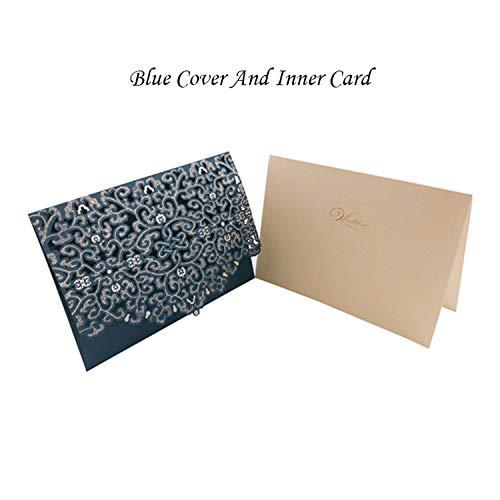 (1pcs Blue Red Luxury Flora Laser Cut Wedding Invitation Card Baby Shower Print Wedding Envelopes Event Party Wedding Decoration,Navy Blue)