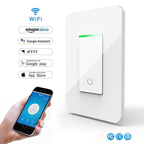 Required Protection (Smart Light Switch,Wi-Fi Switch Wireless Light Switch Compatible with Alexa and Google Home,Tempered Glass Touch Screen Switch with Timer Function and Overload Protection No Hub Required)