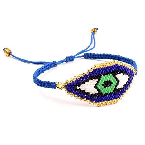 Abicial Handmade Miyuki Seed Beads Evil Eye Woven Charm Bracelet Women Fashion Jewelry