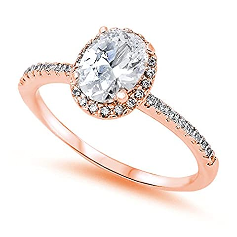 Accent Halo Wedding Promise Ring Oval Cut Cubic Zirconia Round CZ Rose Gold Plated 925 Sterling Silver, (Cubic Zirconia Gold Rings)