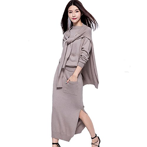 3 Piece Long Sleeve Jumper - Sweater Dress Set Knitted Sweater Floor-Length Cashmere Long Sleeve Knit Sweatshirt 3 Pieces Midi Skirt Set (Camel, XL)