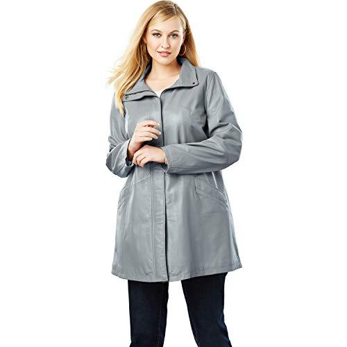 Jessica London Women's Plus Size A-Line Zip Front Leather Jacket - Gunmetal, 22 W ()