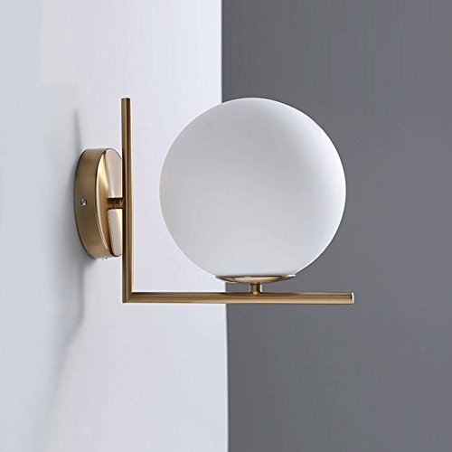 Topdeng Led Wall Lamp, Modern Northern Europe Iron Glass Led Wall Sconce Light Ball Wall Lighting Living Room Bedroom Corridor Wall Sconce-Warm White 27.5x22x20cm(10.8x8.7x7.9inch)
