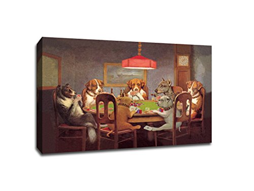 Dogs Playing Poker 1 (36x24 Canvas) Vintage Ads Canvas 36x24