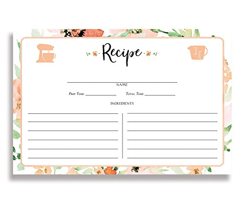 (Watercolor Floral Recipe Cards (Set of 15) 4x6 inches. Double Sided white and Peach Watercolor Flowers Thick Card Stock Floral Recipe Cards | Kaylee)