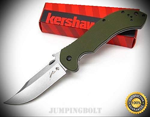 (Emerson OD Green CQC-10K Straight Bowie Blade Folding Pocket Knife 6030 - Premium Quality Very Sharp EMT EDC)