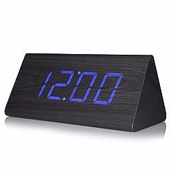 SSBY Bedside clock wood alarm clock bedroom quiet luminous vintage retro clock simple electronic personality lazy students creativity,The black Indigo