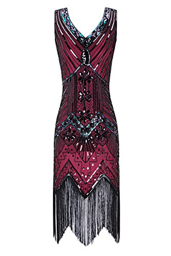 Metme Women's 1920s V Neck Beaded Fringed Gatsby Theme Flapper Dress for Prom,Wine Red,X-Large