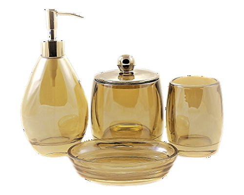 Nature Home Decor 718-1349 Premium Glass 4-Piece Bathroom Accessory Set of Champagne Collection - Beautiful Champagne color will enhance and compliment any decor High grade of thick glass bath and spa set Liquid dispenser is equipped with metal pump which is tarnish resistant and will last a long time - bathroom-accessory-sets, bathroom-accessories, bathroom - 41CSDb%2BG6EL -