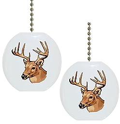 Set of 2 Deer Buck Wildlife Solid CERAMIC Fan Pulls