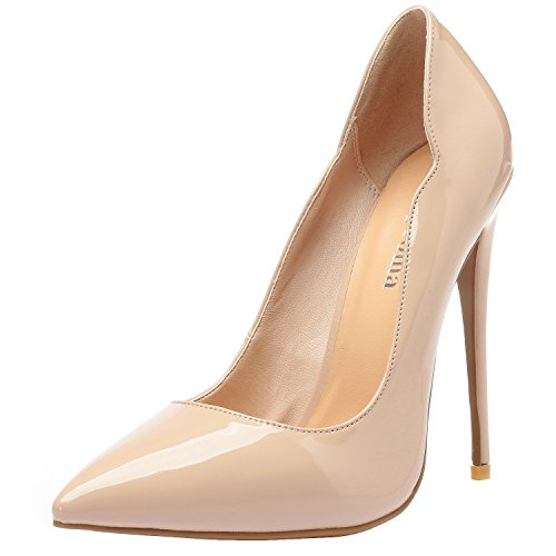 Pumps Toe Heels Luxury Women's Shoes Patent Beige Leather Zabsolute Stilettos Comfortable ZAPROMA Point Sexy High SYI8Sq