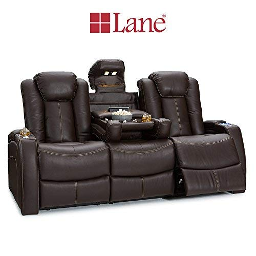 Seatcraft 162E51151559-V1 Omega Home Theater Seating Leather Gel Recline Sofa with Adjustable Powered Headrests, Fold-Down Table, and Lighted Cup Holders, Brown by Seatcraft