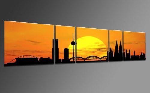 TOP impresión sobre lienzo CITY PANORAMA STYLE Colonia SUN amarillo 5 piezas DIGITAL Arts AP500155 de Cadillac de tenis júnior con cuerdas en bastidor. Obra de arte instalado. Sala de estar, oficina