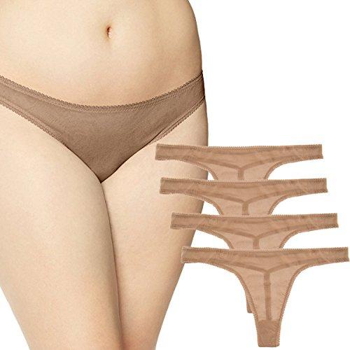 OnGossamer (4 Pack) Plus Size Mesh Thong Underwear Sexy Womens Seamless Panties Sheer Lingerie