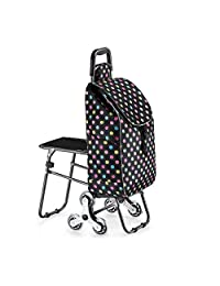 Stair Climbing Shopping Cart with Stools, Folding Portable, Stainless Steel Crystal Wheel, Strong Load Capacity, for Camping, Business Trips, Colored dots