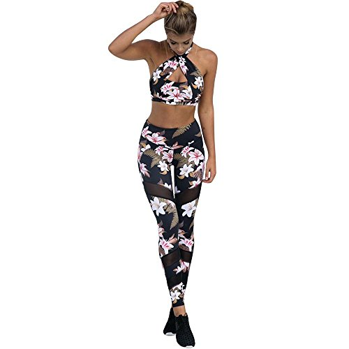 Price comparison product image Clearance Sale! Charberry Womens Flower Print Mesh Stitching Yoga Pants Sports Leggings Athletic Trouser (US-10 / CN-XL)