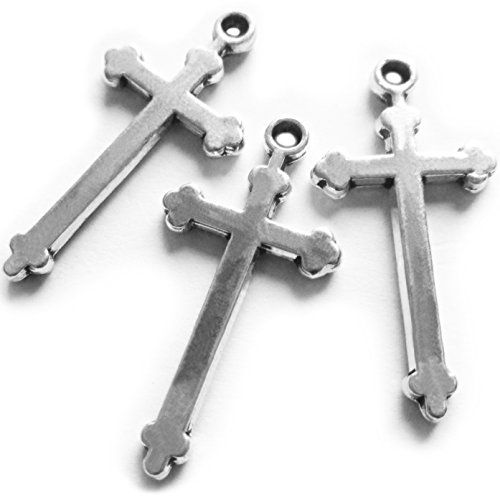 Heather's cf 60 Pieces Silver Tone Basic Cross Pendant Beads DIY Religious Cross Charm Bead Findings 28X14mm Pewter Religious Charms