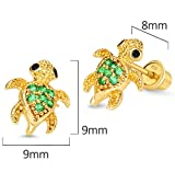 14k Gold Plated Brass Turtle Cubic Zirconia