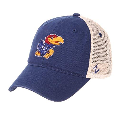 Zephyr NCAA Relaxed Fit Vintage- University- Adjustable Trucker Hat Cap-Kansas Jayhawks