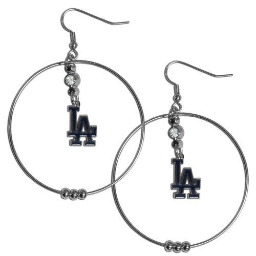 ers Hoop Earrings, 2-Inch (Los Angeles Dodgers Rhinestone)