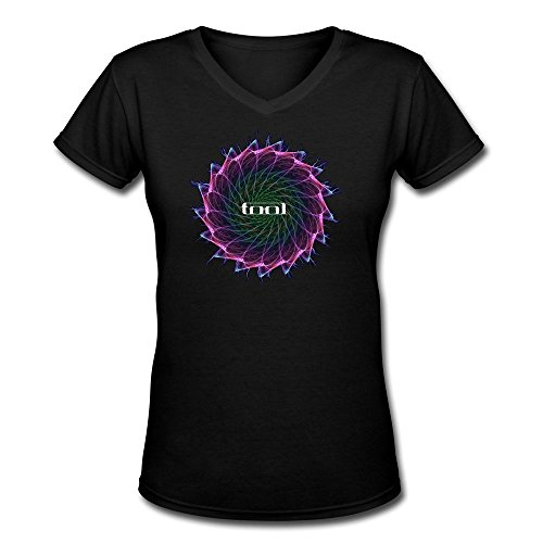 Crystal Women's Tool Slim Fit Design V-neck T-Shirt Black US Size XL