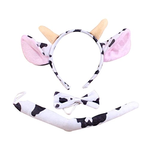 (BabyPreg Kids Dalmatian Headband Fancy Mouse Tiger Animals Cosplay Halloween Costume (Milk Cow,)