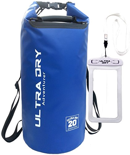 20L Premium Waterproof Bag, Sack with phone dry bag and Long Adjustable Shoulder Strap Included (blue, 20 L)