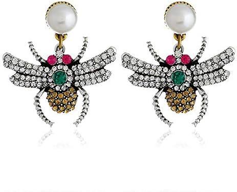 Pendientes creativos de moda con forma de araña única, pendientes de color diamante personalizados