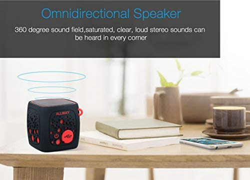 Mini Bluetooth Speakers,ALLWAY Portable Travel Wireless Bluetooth Speakers with Loud Stereo Sound,Rich Bass,TF Card Port,164 Feet Bluetooth 5.0 Range for Laptop,MacBook Pro,iPhone,Echo,Car and More