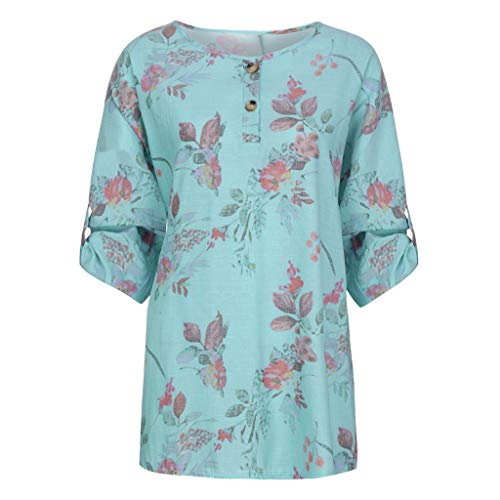Summer Blouses for Women,SMALLE◕‿◕ Women Casual Floral on T-Shirt O-Neck Three Quarter Sleeve Plus Size Tops -