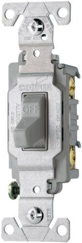 Eaton CS115GY 15-Amp 120/277-volt Commercial Grade Single Pole Compact Toggle Switch with Side Wiring, Gray Color