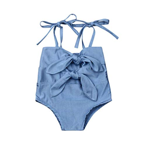 Hopeg Summer Kids Baby Girls Knotted Beach Tankini Swimsuits Bathing,Infant boy Bikini lace-up Pure Color Sling Sleeveless Swimwear