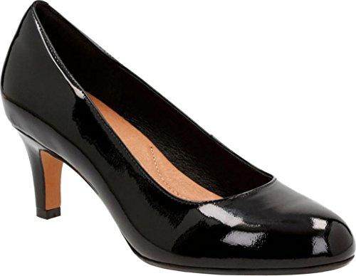 Clarks Women's Heavenly Heart Black Patent Leather Shoe