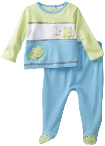 ABSORBA Baby-Boys Newborn Color Blocked Froggy Two Piece Footed Pant Set