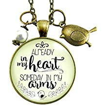 "24"" Already in My Heart Mother's Necklace Expecting Child Rainbow Baby Pregnancy Adoption Wait Keepsake Jewelry Gift"