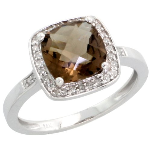 14k White Gold Square-shaped Stone Ring, w/ 0.12 Carat Brilliant Cut Diamonds & 2.10 Carats Cushion Cut (8mm) Smoky Topaz Stone, 7/16 in. (11mm) wide, size (Square Shaped Stones Ring)