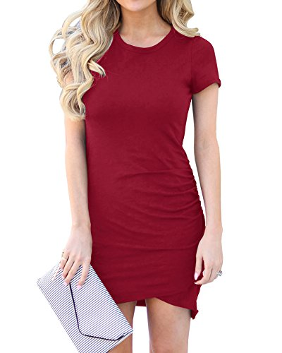Valphsio Womens Summer Bodycon Dress Casual Short Sleeve Work Pencil Ruched Mini (Ruched Dress Color)